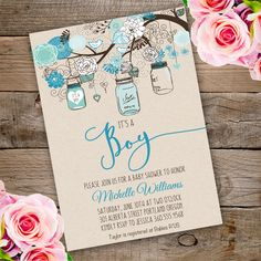 Mason Jars Baby Shower Invitation template