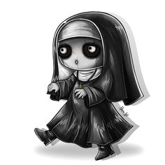 Chibi 167 48 Beautiful Marry the Possessed Nun Support Ap Carry Gothic Drawings, Creepy Drawings, Halloween Drawings, Creepy Art, Cute Drawings, Diy Halloween, Halloween Decorations, Emo Art, Goth Art