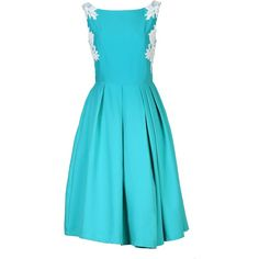Jolie Moi Lace Applique Panelled 50s Prom Dress (115 AUD) ❤ liked on Polyvore featuring dresses, blue, clearance, lace panel dress, pleated dress, blue cocktail dress, blue prom dresses y lace cocktail dress
