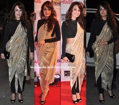 So want to try this look out! filmfare awards 2014-dia mirza-shantanu and nikhil