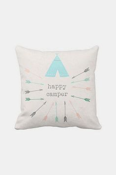 Pillow Cover Happy Camper Tribal Arrows