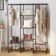 bedroom storage 14 clothes racks that store your garments in style - Black clothing rack # Standing Clothes Rack, Standing Closet, Free Standing Wardrobe, Standing Desks, Wardrobe Storage, Wardrobe Closet, Closet Space, Open Wardrobe, Closet Rod