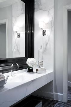 Wicked 10 Awesome Monochrome Bathroom Ideas You Must Try Do you want to apply a slightly different bathroom design before? What if you apply a monochrome bathroom? If you don't know it yet, the color of mono. Transitional Living Rooms, Transitional Bathroom, Transitional House, Beautiful Bathrooms, Modern Bathroom, Small Bathroom, Marble Bathrooms, Bathroom Black, Bathroom Kids