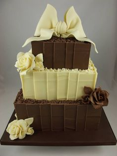 Chocolate Shards Wedding Cake Made With Belgian Finished Off Hand Crafted Bow