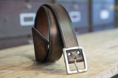 1d732315784e Black rock leather belt custom leather dark patina made by Bandit.  CeinturesCuir ...