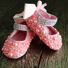 Pearl and Crystal Mary Jane Bow Back Baby Booties / Crib Shoes