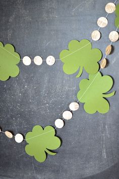 St. Patrick's Day garland - clover shamrocks and vintage circles | the Path Less Traveled