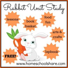 FREE Rabbit Unit Study including lapbook and extra activity ideas; a great spring theme for your homeschool Preschool Lesson Plans, Free Preschool, Preschool Activities, Free Rabbits, Teaching Us History, Thematic Units, Kindergarten Science, Spring Theme, Activity Ideas