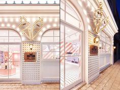 We have focused on creating visually effective counter design as the pick-up zone is considered one of the spaces with frequent guests flow and sale. We created design to make association with a kitchen in which ice cream and churros are made. Retail Interior, Cafe Interior, Interior Exterior, Visual Merchandising, Door Design, House Design, Counter Design, Kids Boutique, Models