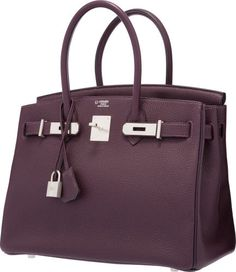 Luxury Accessories:Bags, Hermes Special Order Horseshoe 30cm Raisin & Indigo ClemenceLeather Birkin Bag with Brushed Palladium Hardware.Excellent...