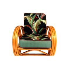 Original 1940's 3 Strand 3/4 Pretzel Arm Rattan Lounge Chair in the manner of Paul Frankl - $1195.