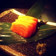 Want something healthy for dinner? We have gorgeous salmon sashimi for you!  Enjoy it with kizami wasabi! ( ˘ ³˘)♥