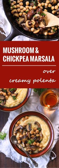 Substitute cauliflower mash or spaghetti squash for polenta to make lighter in calories. This vegan mushroom marsala is made with baby portobello mushrooms and chickpeas simmered in garlicky marsala wine sauce and served over creamy polenta. Chickpea Recipes, Veggie Recipes, Whole Food Recipes, Cooking Recipes, Hamburger Recipes, Chickpea Salad, Vegan Main Dishes, Veggie Dishes, Veggie Food