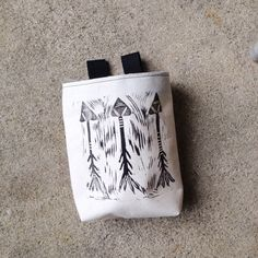 chalk bag rock climbing chalk bag linocut arrows by rokrok on Etsy