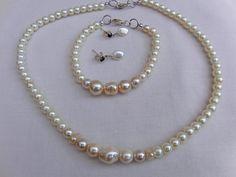 Cream Pearl Bridal Jewellery Set Necklace by OswestryJewels