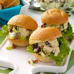 Chicken Salad Party Sandwiches Recipe from Taste of Home -- shared by Trisha Kruse of Eagle, Idaho