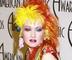 Signature yellow orange hair color or Cyndi Lauper. Description from pinterest.com. I searched for this on bing.com/images