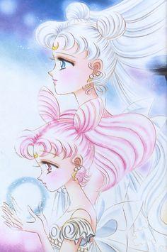 """Princess Serenity & Small Lady (Chibiusa) from """"Sailor Moon"""" series by manga artist Naoko Takeuchi. Sailor Moons, Sailor Moon Manga, Sailor Neptune, Sailor Uranus, Sailor Moon Art, Manga Anime, Anime Chibi, Princesa Serena, Sailor Moon Kristall"""