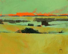Original semi-abstract landscape painting - Emerald and gold landscape