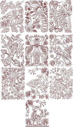 Advanced Embroidery Designs - Folk Art Bird Set