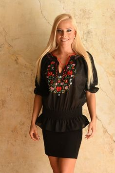 """Hungarian black """"Matyó"""" stlye blouse with colorful embroidery, small matyó flowers"""
