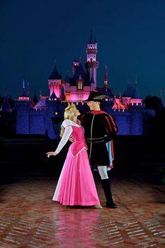 Princess Aurora and Prince Phillip at Disneyland <3