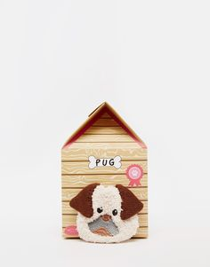 ASOS Christmas Pug Cosy Sock In Dog House Gift Set