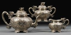 Three-piece Chinese Export Silver Tea Set, Wang Hing, late 19th century