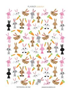 Free Printable Bunnies Planner Stickers {PDF, JPG and Silhouette Files} from Planner Addiction