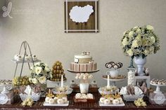 Gorgeous dessert table at a lamb baptism party! See more party planning ideas at CatchMyParty.com!