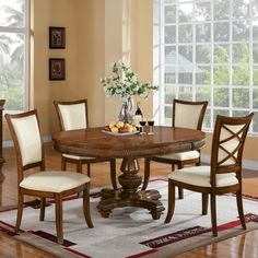 The Windward Bay Wood Round Dining Table in Warm Rum ships for free from Humble Abode. Quality-built with a rich finish, the Windward Bay Round Dining Table is sought after by deluxe furniture shoppers. Shop for your Windward Bay Pedestal Table now. Round Pedestal Dining Table, Round Dining Set, Solid Wood Dining Set, Dining Table Design, Extendable Dining Table, Dining Table In Kitchen, Dining Room Sets, Dining Table Chairs, Dining Room Furniture