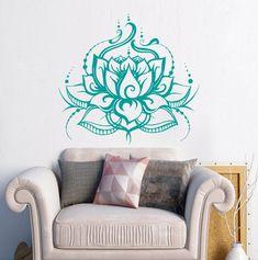 Lotus Wall Decal Lotus Flower Wall Decal Yoga Wall Art Bohemian Wall Decal Boho Decor Bedroom Decor Namaste Decal Yoga Studio Decor S21 #ad