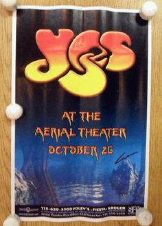 Original concert poster for Yes at The Aerial Theater in Houston, TX in 1999. 11 x 17 inches on thin glossy paper. Light handling marks, creases and edge wear.