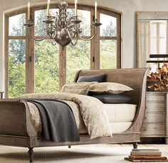 Empire Rosette Sleigh Bed with Footboard | Wood Beds | Restoration Hardware