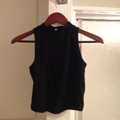 black mid-turtle neck crop top great condition - crop top - Tops Crop Tops