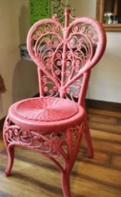 Love this pink heart wicker chair furniture