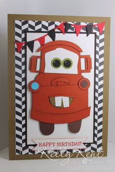 Cars Movie Punch Art - Mater using Stampin' Up! products.  Kelly Kent - mypapercraftjourney.com