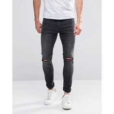 ASOS Super Skinny Jeans With Knee Rips In Dark Grey Wash ($37) ❤ liked on Polyvore featuring men's fashion, men's clothing, men's jeans, grey, mens gray jeans, tall mens jeans, mens skinny jeans, mens ripped skinny jeans and mens distressed skinny jeans