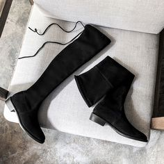 Cizme peste genunchi din piele naturala stretch suede, cu rama eleganta Knee Boots, Shoes, Fashion, Moda, Zapatos, Shoes Outlet, Fashion Styles, Knee Boot, Shoe