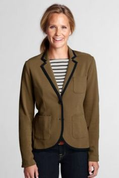 Women's 2-button Double Knit Jacket from Lands' End -- garnet or Navy! <3