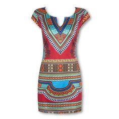 Women Summer Dashiki dress tunique femme Shirt dresses sexy vintage print