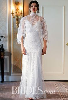 """Brides.com: . """"Santa Monica,"""" fitted silhouette of embroidered tulle with ivory cording, silver thread, and clear sequins, shown with matching cape, Claire Pettibone"""