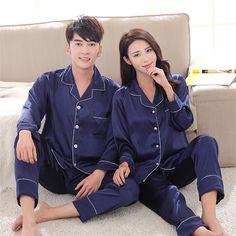 Tinyear Womens Silk Satin Pajamas Pyjamas Set Long Sleeve Sleepwear Pijama Suit Female Sleep Two Piece