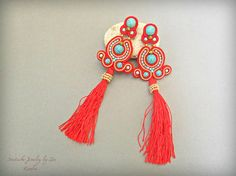 Red Turquoise Long Soutache Tassel Earrings, Extra Long Stud clip on Fringe Earrings, Soutache Jewelry, Silk Tassel, Red Earrings