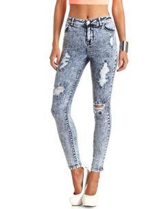 """Refuge """"Hi-Rise Skinny"""" Destroyed Acid Wash Jeans: Charlotte Russe"""