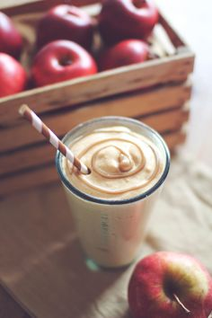 Caramel Apple Pie Protein Shake!!!   Base for a Protein shake and:  - 1/2 cup Apple chopped fine, or 1/2 cup applesauce   - 1/2 tsp Caramel extract (or 2 tbs sugar free butterscotch pudding mix)  1/2 tsp Apple or pumpkin pie spice   - Dash Cinnamon