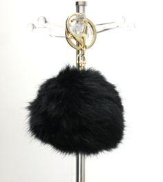 Black Faux Fur Pom Pom Keychain
