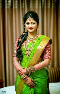 15 Popular South Indian Bridal Hairstyles for Engagement - TBG Bridal Store Bridal Hairstyle Indian Wedding, South Indian Bride Hairstyle, Indian Bridal Sarees, Bridal Hairdo, Indian Bridal Hairstyles, Indian Bridal Fashion, Indian Beauty Saree, Bridal Silk Saree, Indian Makeup