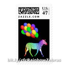 These fun first class US postage stamps feature a profile of a zebra in a rainbow of colors pulling along a bunch of colorful balloons with the strings in his mouth as if he's on his way to a party. http://www.zazzle.com/colorful_rainbow_zebra_party_animal_postage_stamp-172192180054536460?rf=238083504576446517&tc=pint082516 #animals #graphicart #mailingsupplies #DebiDalio