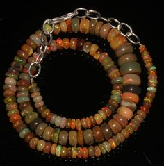 """61 TCW 1 Necklace 2 to 8 mm 14"""" Beads Genuine Ethiopian Welo Fire Opal 9169 #opalinmind"""
